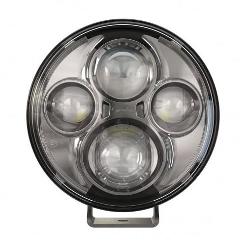 "TS4000 7"" ROUND LED DRIVING LIGHT 12 / 24 V ECE APPROVED CHROME X 2"